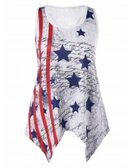 American Flag Plus Size Handkerchief Tank Top