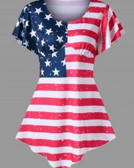Asymmetrical American Flag Print T-shirt