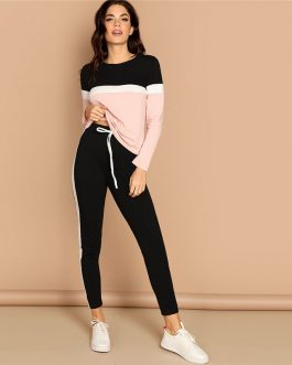 Women Athleisure Color-Block Top and Drawstring Waist Side Panel Pants