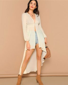 Bohemian Asymmetrical Hem Vacation Beach Long Kimono