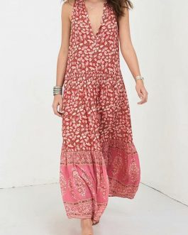 Bohemian Maxi Print Floral Button Sleeveless Dress