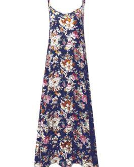 Bohemian Women Floral Printed Spaghetti Strap Beach Maxi Dresses