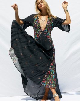 Boho Maxi Dress Plunging V Neck Buttons Printed Dress