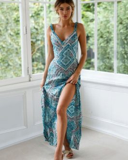 Boho Maxi Dress Sleeveless Cut Out Knotted Blue Printed Dress