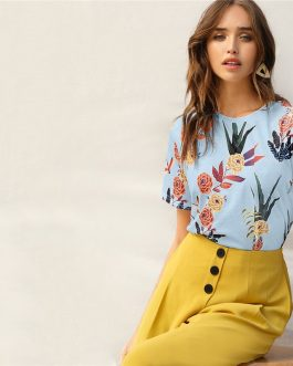 Botanical Print Casual Stylish Basic Top T Shirt