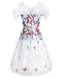 Butterfly Pattern Flared Vintage Dress