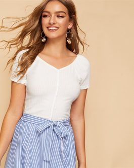 Casual Buttoned Front Rib-knit Crop Top Short Sleeve Solid Tshirt