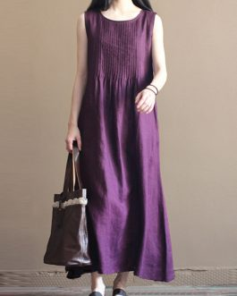 Casual Women Pure Color O-Neck Pleated Cotton Maxi Tank Dress