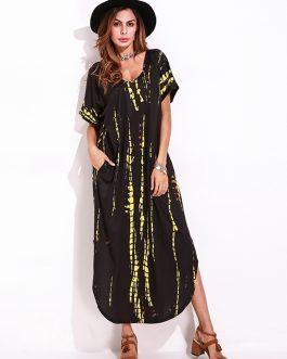 Casual Women Tie Dye Short Sleeve V-neck Loose Split Maxi Dresses