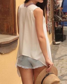 Casual Sleeveless V Neck Asymmetrical T-Shirt
