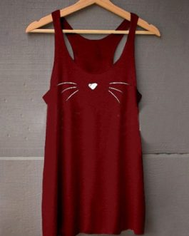 Cat print crew neck tank tops women