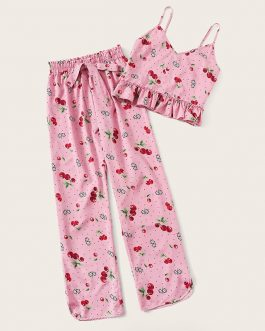 Women Cherry Print Crop Cami Top and Long Pants Sleeveless Sleepwear Pajama Sets