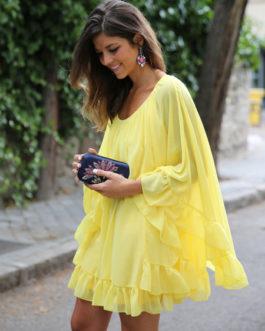 Chiffon Dress Long Sleeve Ruffles Solid Color Poncho Dress