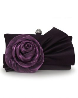 Chiffon Evening Bag With Flower Decor