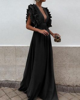 Chiffon Maxi Dress Plunging Evening Dress Sleeveless Cascading  Dress