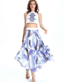 Chiffon Two Piece Sets With Leaf Printed Long Skirt And Crop Top