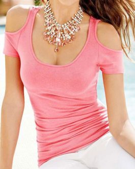 Cold-Shoulder Cotton T-Shirt for Women