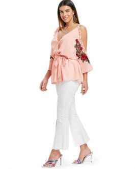 Cold Shoulder Embroidery Surplice Blouse