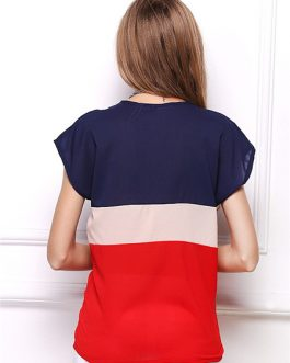Color Block Polyester T Shirt For Women