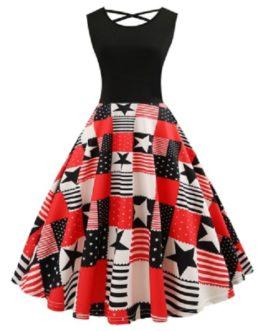 Criss Cross American Flag Print Flare Dress