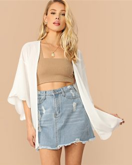 Drop Shoulder Scallop Edge Rib-Knit Long Kimono