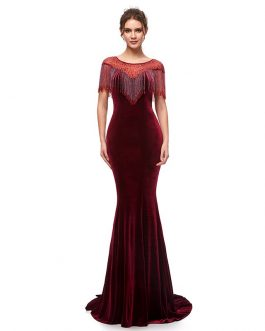 55b367b70dc44 Elegant Long Mermaid Velvet with Tassel Formal Evening Party Maxi Gowns ...
