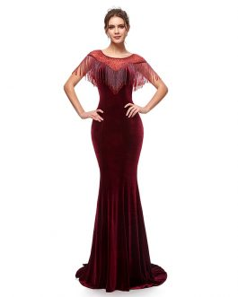Elegant Long Mermaid Velvet with Tassel Formal Evening Party Maxi Gowns