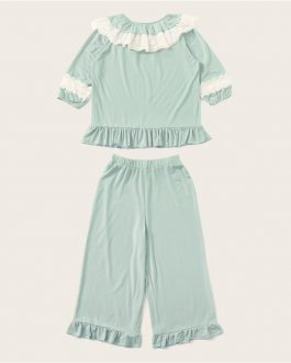 Embroidered Eyelet Lace Top and Crop Pants Lounge Set Women Pajama Set