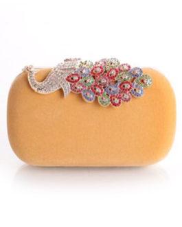 Evening Clutch Bag Wedding Box Handbag Rhinestone Peacock Deco Bridal Purse