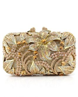 Evening Clutch Bridal Rhinestone Beaded Flowers Wedding Box Handbag