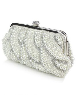 Evening Clutch Pearls Evening Bags Rhinestones Chain Strap Bridal Purse