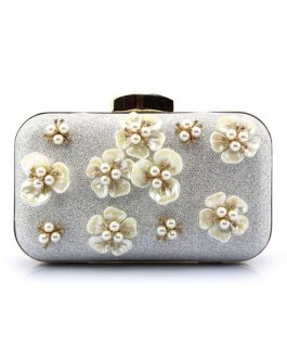 Evening Handbags Glitter Pearl Flower Horizontal Mini Wedding Clutch Bags