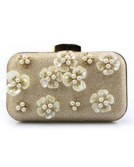 Evening Handbags Glitter Pearl Flower Horizontal Mini Wedding Clutch Bags