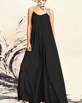 Fashion Spaghetti Straps Solid Color Plus Size Maxi Dress