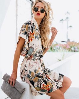 Floral Dress Short Sleeve V Neck Tie Waist Mini Dress