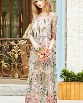 Floral Maxi Dress Embroidered Tulle Round Neck Long Dress