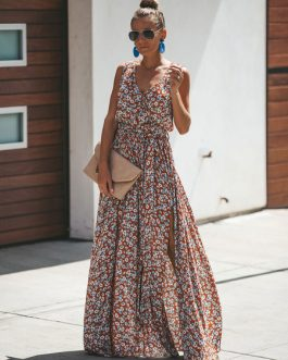Floral Maxi Dress Sleeveless V Neck Split Dress