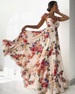 Floral Maxi Dress V Neck Backless Chiffon Boho Dress