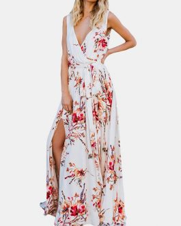 Floral Print Cross Wrap Maxi Dress For Women