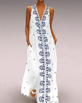 Floral Print V-neck Sleeveless Plus Size Maxi Dress