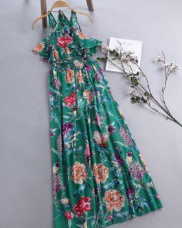 Floral Printed Spaghetti Strap Chiffon Maxi Dresses