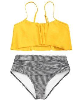 Flounce Spaghetti Strap Striped Bikini Set