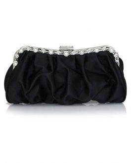 Formal Satin Rhinestone Woman's Evening Bag With Silver Chain
