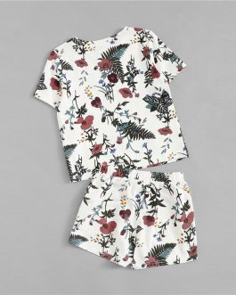 Girls Botanical Print Top And Drawstring Shorts Nightwear
