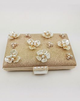 Glitter Wedding 3D Flower Pearl Horizontal Evening Clutch Bag