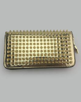 Gold Women's Wallet Genuine Leather Accordion Zip Rivet Clutch