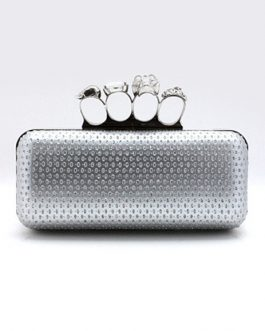 Gothic Metal PU Leather Evening Clutch Bag For Women