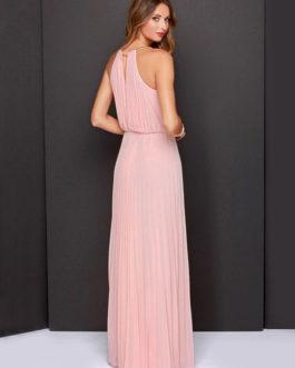 Chiffon Dress Halter Cut Out Sleeveless Pleated Women's Maxi Dress
