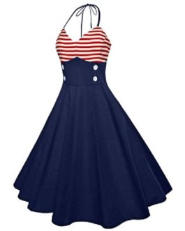 Halter Striped Buttoned Dress