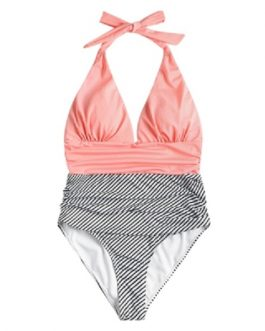Halter Striped Low Back Swimsuit